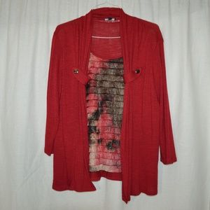 Elementz Womens Knit Cardigan Top Size L Red